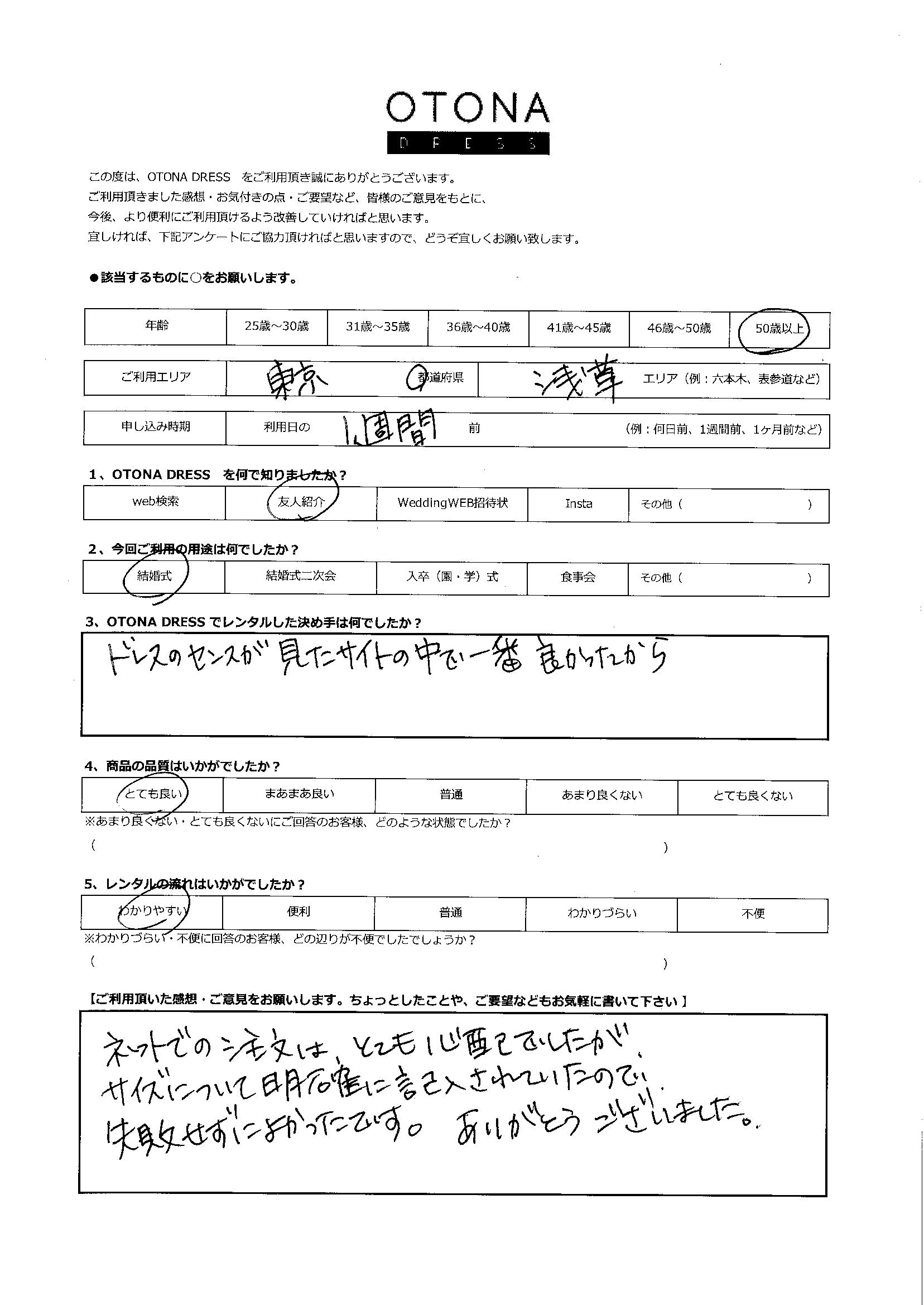 3/28結婚式ご利用 東京・浅草エリア